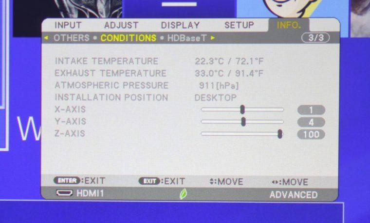 NEC NP-PA653UL Info Menu - Conditions