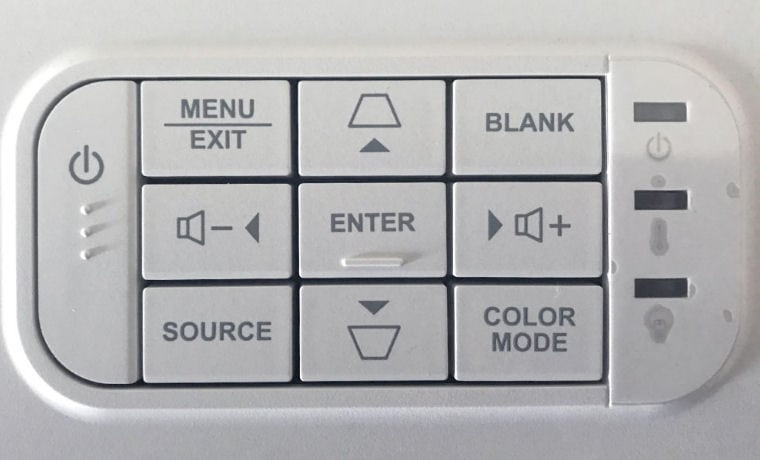 ViewSonic PX706HD Control Panel